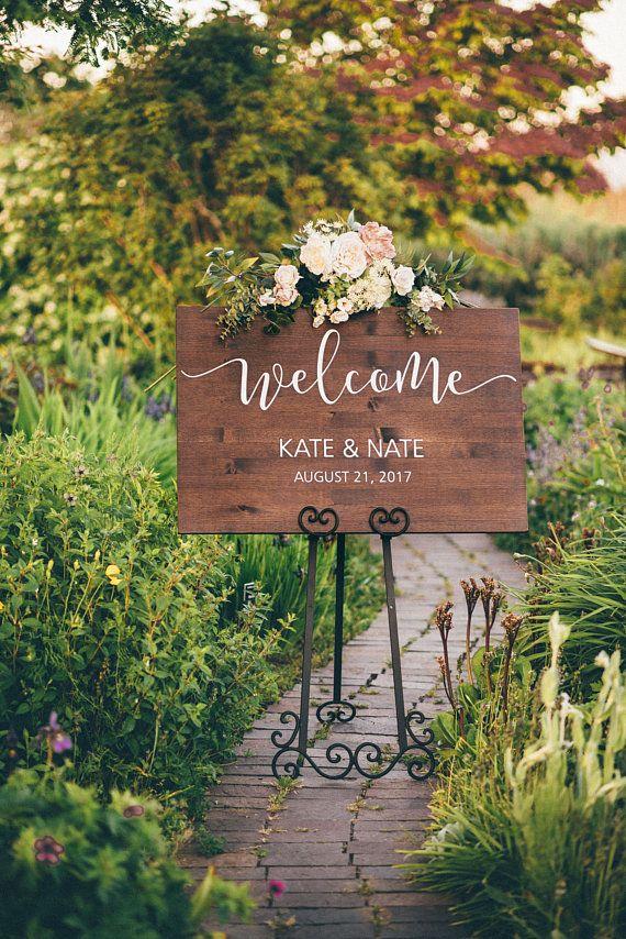 Hochzeits-Willkommensschild-Holz-Hochzeits-Schild-Rustic Wedding Decor