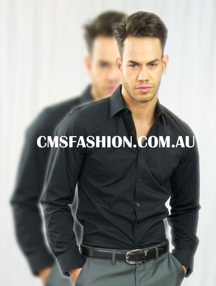 Black Dress Shirt #mensshirt #black #blackshirt #mensfashion #menswear #shirts  www.cmsfashion.com.au