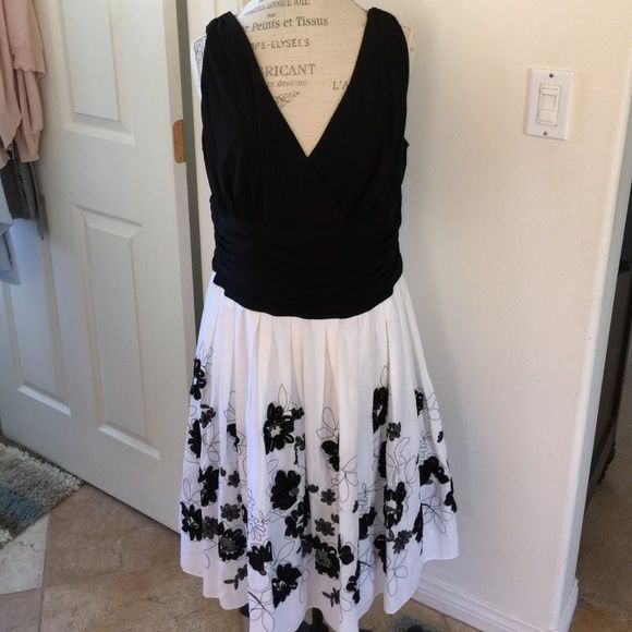 NWT Black and white spring dress Very cute black and white embroidered dress.  This is brand new and it's very flattering. From smoke free home. Dresses