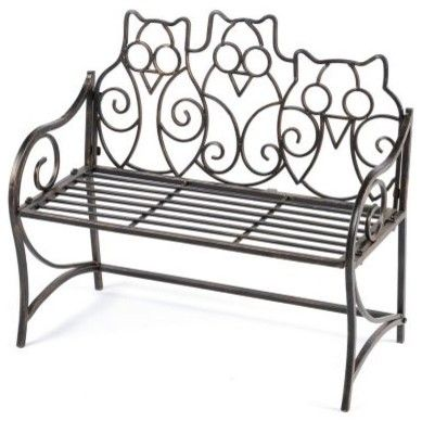 Cute owl patio bench. Future part of my dream house