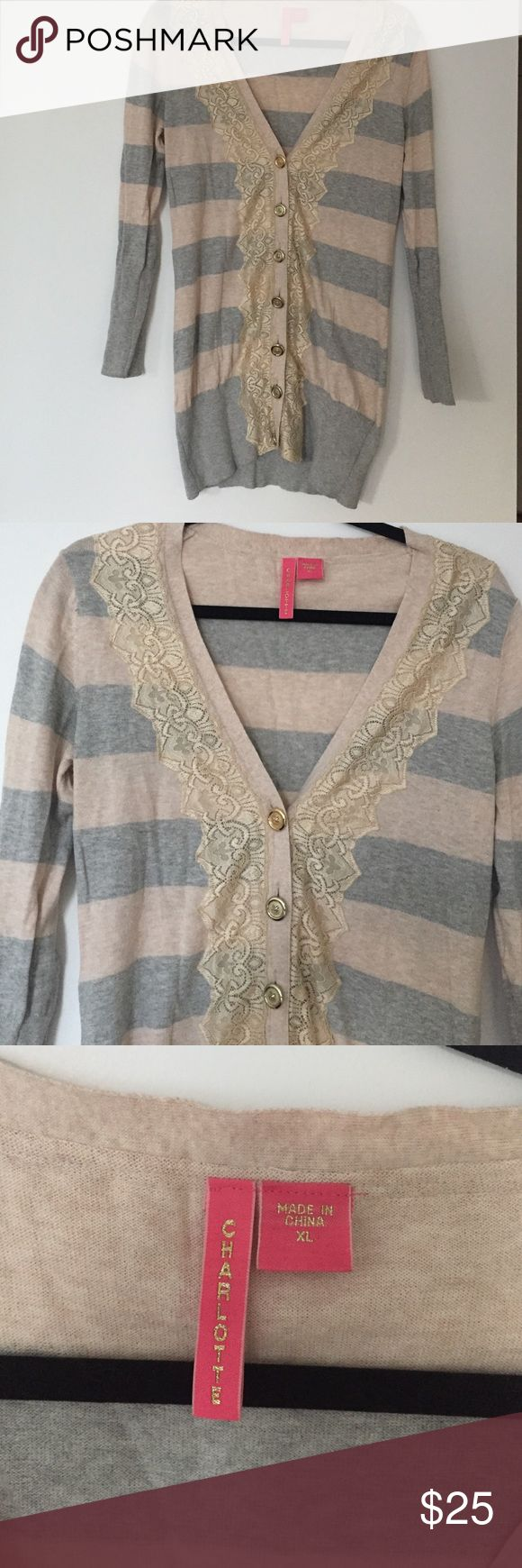 Charlotte Cardigan Beautiful gray/tan cardigan with gold buttons and lace detailing. Nordstrom Sweaters Cardigans