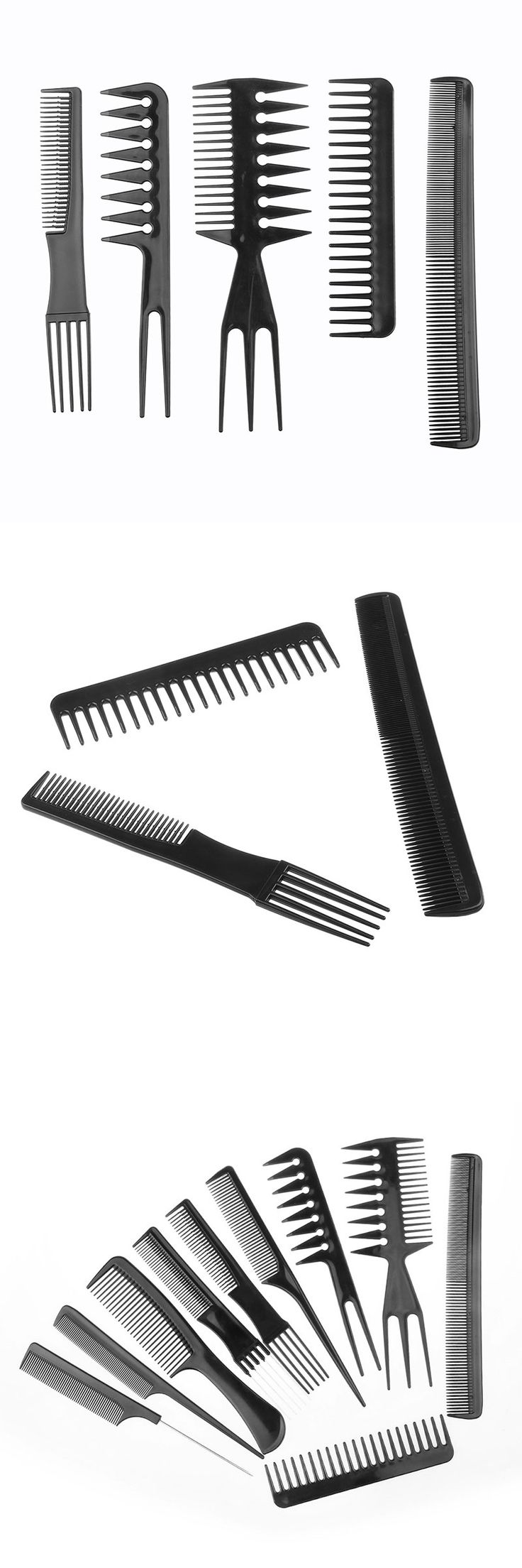 10pcs Hair Styling DIY Tool Comb Anti-static Barbershop Style Makeup Brush Salon Products HJL2017