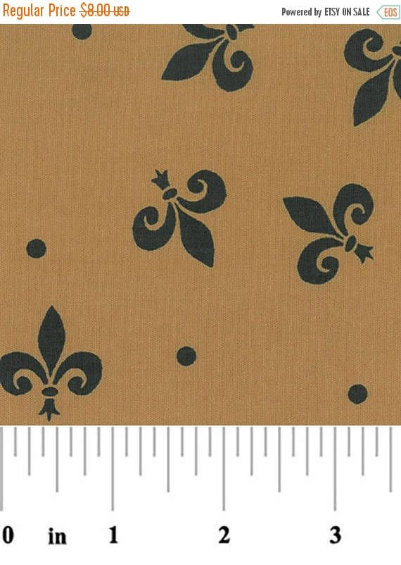 ON SALE - 10% Off Fabric Finders Fleur De Lis Bronze Black Clothing Quilting Applique Fabric By The Yard