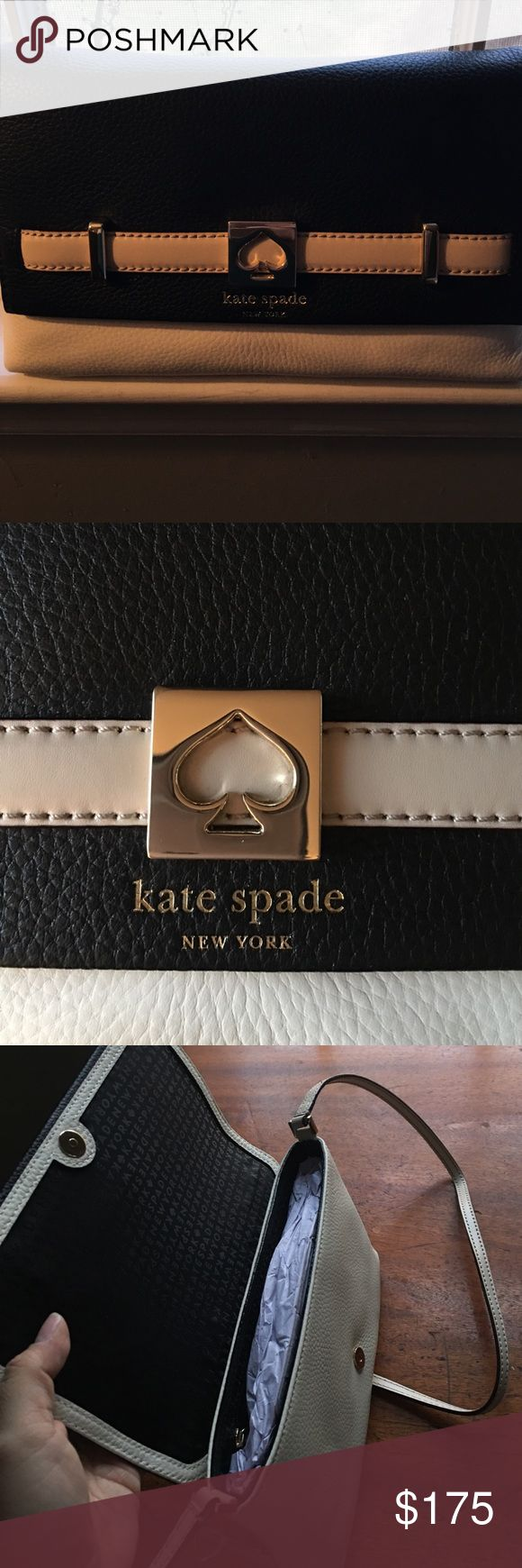 Kate Spade Loula Houston Street crossbody purse! *new with tags* Kate Spade Loula Houston Street purse is white with black flap and taupe accent straps. The inside materials is black and flaunts the Kate Spade logo. It is in perfect condition with no flaws or damages. This purse is quite spacious for a crossbody and includes a zipper compartment on the inside. Snaps closed at the front. 👛❤ kate spade Bags Crossbody Bags