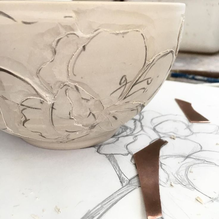 Carving in progress I'd forgotten how much I love this technique  #clay #pottery #wip #carving #porcelain #mackinleyceramics #lovemyjob