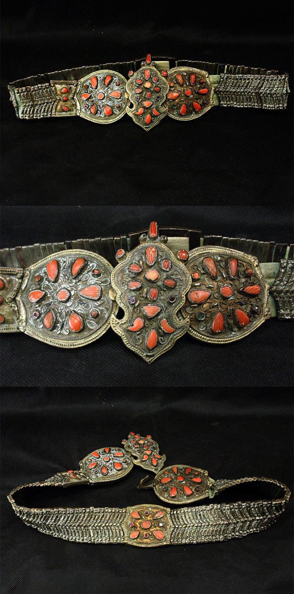 A coral inlaid silver 'tokalı kemer' (belt with buckle).  For women. Late-Ottoman, 19th century.  Probably from a workshop in Safranbolu.