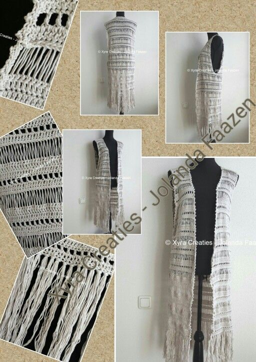 #PATR1075 #Xyra #xyracreaties #vest #gilet #ibiza #boho #bohemian #haakpatroon #patroon #haken #gehaakt #crochet #pattern #crochetpattern #DIY #haakpatroon #patroon #haken #zomer #summer #gehaakt #crochet #pattern #DIY Patroon PATR1075 (NL) is beschikbaar via: Pattern PATR1075 (English-US) is available at: www.xyracreaties.nl www.ravelry.com/stores/xyra-creaties www.etsy.com/shop/XyraCreaties
