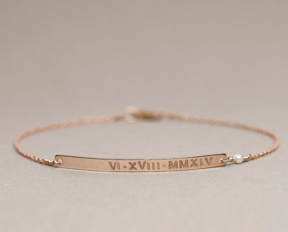 Beautifully Simple, Meaningful Bracelet that can be personalized with hand-stamped letters and a tiny gemstone link. Choose 14k Gold Fill,