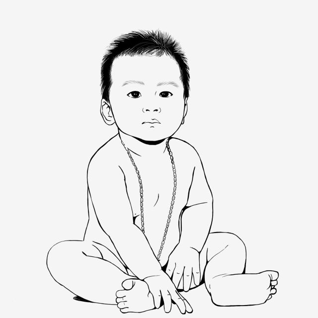 Baby Sitting Lineart Baby Sit Infant Png Transparent Clipart
