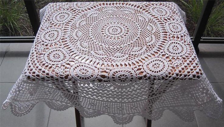 Vintage Hand Crochet TABLE TOPPER/CENTREPIECE 83cms Diameter Crochet Thread is White Cotton Never Used but stored over a long period of time so I have *Washed *Starched *Ironed  to freshen up.