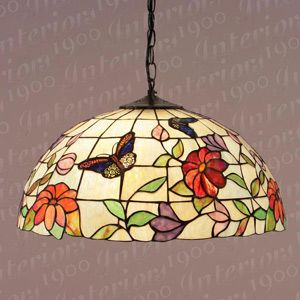 Interiors 1900 SU02 3 TV158L Butterfly Large Tiffany Pendant