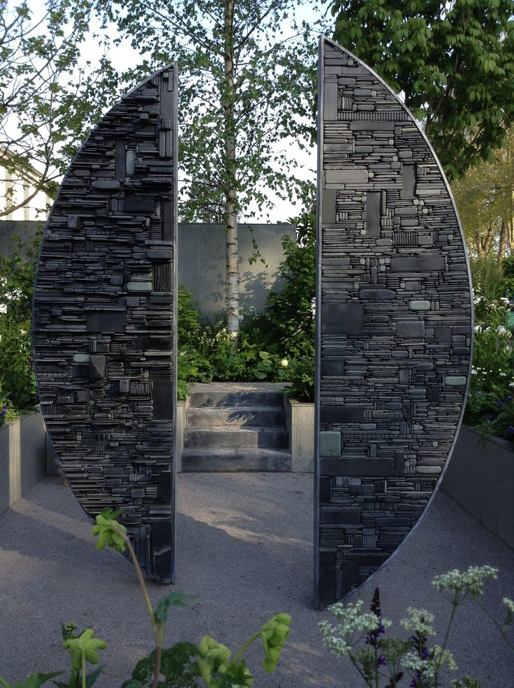 Divided - slate & steel - 3m x 2m approx. Sculpture by Tom Stogdon
