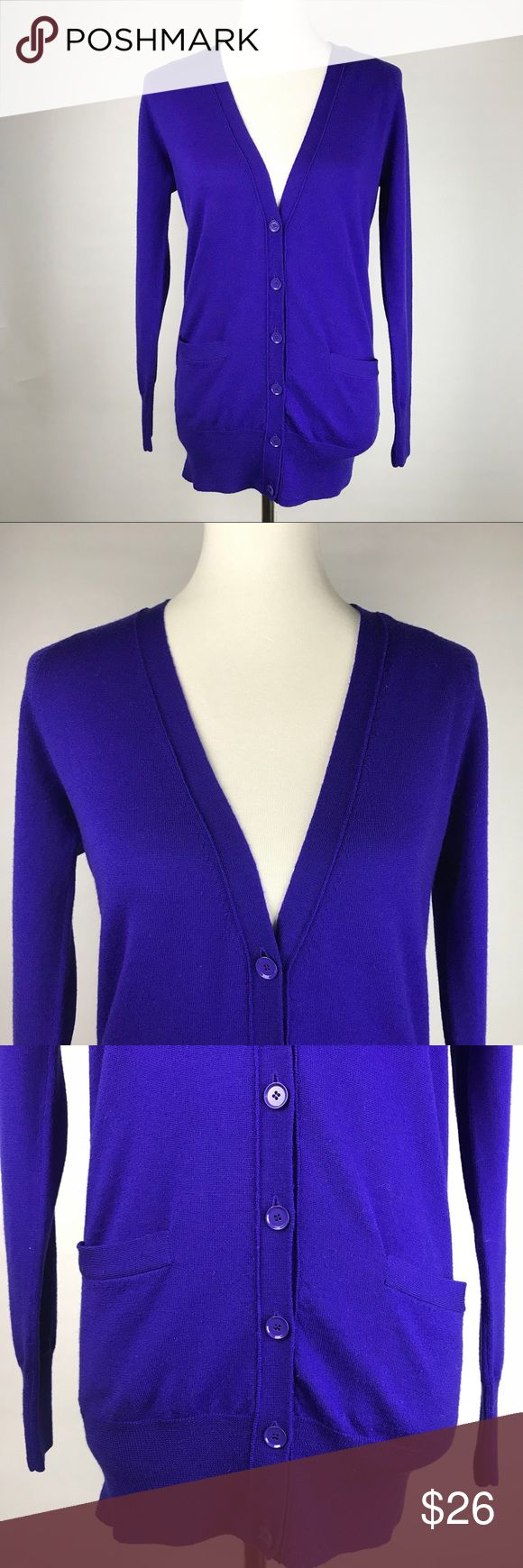 "J. CREW small blue merino wool cardigan sweater! Gorgeous royal blue cardigan sweater from J. Crew! Women's small. Long sleeve, v neck, buttons half way down. Soft 100% merino wool. Great springy color! Measurements taken laid flat: Bust 18"" across Length 27"" J. Crew Sweaters Cardigans"