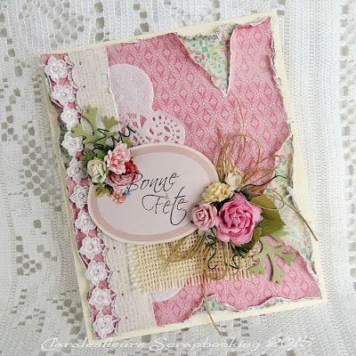 Claralesfleurs Scrapbooking 2015 - Carte d'anniversaire féminine avec étampe texte Bonne Fête de Simple à Souhait