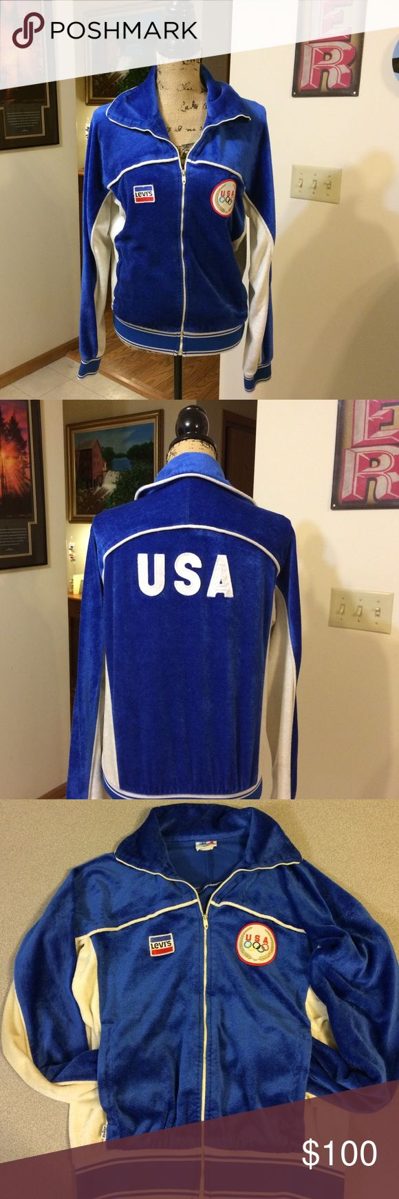 Vintage Levi's 1980's Olympic Track Jacket Authentic vintage item from Levi's! This rare jacket was endorsed by the Olympic Committee specifically for the 1980 Olympic Games held in Moscow. This jacket is unique because the manufacturer (Levi's) had a patch put on the right side across from the Olympic Rings patch on the left. It's a men's medium, but is simple enough style to be unisex. Great condition give its age with no rips or holes. Fully functional front pockets and zip closure…