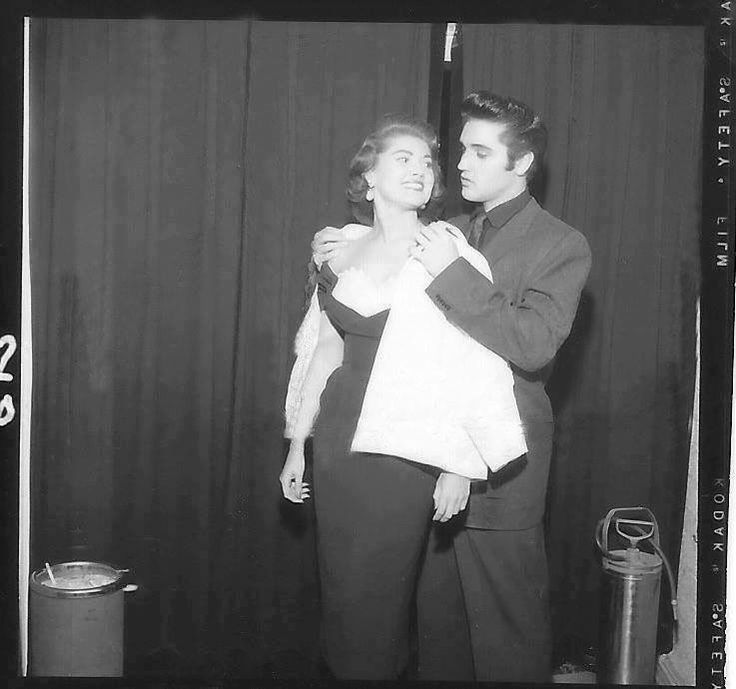 """Elvis was on vacation in Las Vegas, & stayed at the Sahara Hotel Oct 15 - 24, 1957.  Here with Joan Adams, 1957's 'Miss Nevada' - 2nd runner-up in that year's Miss USA Pageant. Details about Elvis' date with Joan are in Alanna Nash's book """"Baby, Let's Play House: Elvis Presley and the Women Who Loved Him"""".  Elvis & Joan would meet again almost 12 years later at his press conference at the Intl Hotel in LV, Aug 1, 1969. She then would be Joan Shoofey, wife of International Hotel VP Alex…"""