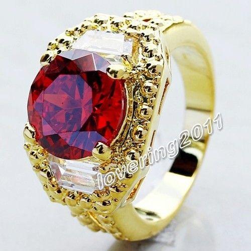 Виктория Вик Дизайн Бижутерия мужская Гранат Diamonique gem 18 К золота GF размер Кольца 9/10/11 бесплатная доставка, Антикварные кольца