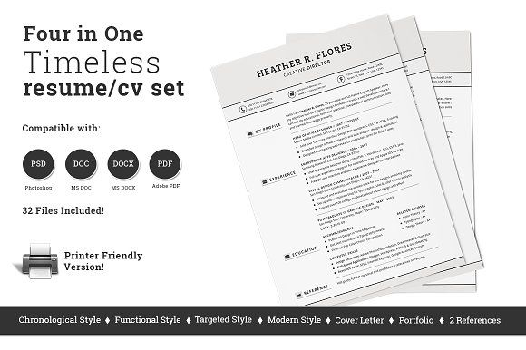 4 in 1 Timeless Resume CV Set by SNIPESCIENTIST on @creativemarket - functional style resume