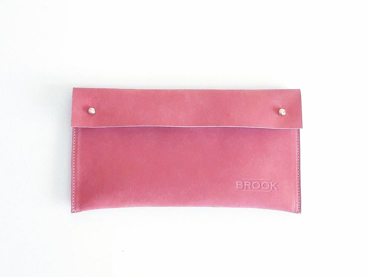 Leather Purse, Suede Clutch, Pink, Handbag, Handmade by Brookleathergoods on Etsy