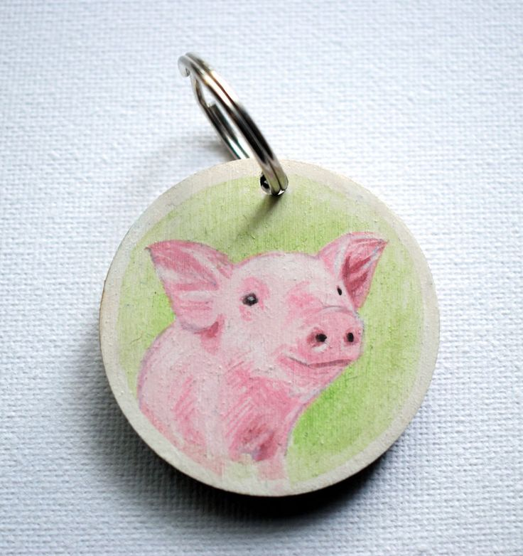 Piglet, Pig, Round Key Ring Hand Painted #handpaintd #gifts #christmas