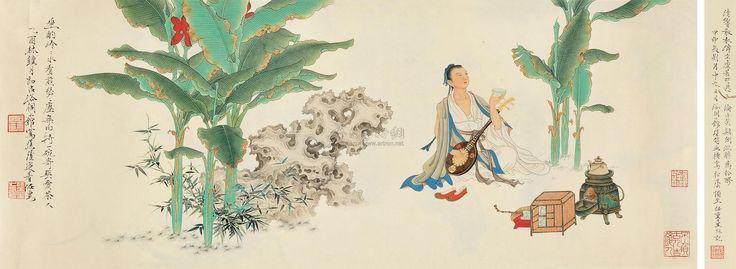 【工笔人物 纸本】拍卖品_图片_价格_鉴赏_绘画_雅昌艺术品拍卖网 Ren Zhong (Chinese, born 1976).           蕉荫逭暑 . Ink and color on paper, backed, 2005