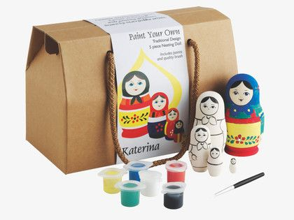 PINTA PETS Paint your own Russian dolls kit  Encourage budding artists with the Painta paint your own Russian dolls kit, which lets them create their own colourful Matryoshka. The kit contains three nesting dolls, two pots of acrylic paint, a paintbrush and instructions. Paint your own penguins and découpage Russian dolls kits are also available.