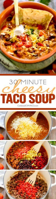 Less than 30 minutes for this ONE POT Cheesy Taco Soup! This is the ultimate comforting soup packed with all your favorite taco flavors and is SO easy and great for crowds! You haven't had taco soup until you try this version!  via /carlsbadcraving/