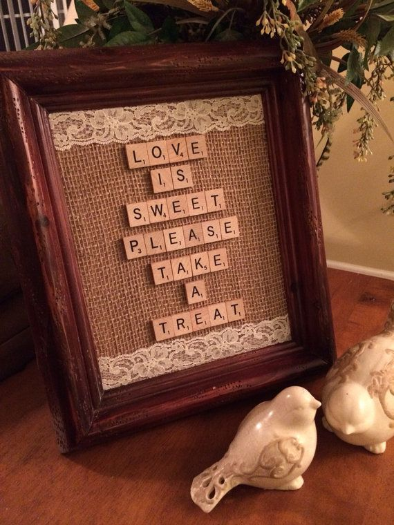 Love is Sweet Take a Treat Wedding Sign Burlap Banner - Rustic Vintage Country Wedding - Dessert Table Sign - Cake Table - Wedding Candy Bar