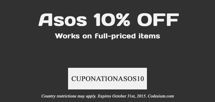 for Sweden, Norway and Denmark - discount for ASOS (10%). http://codesium.com/asos-discount-code/