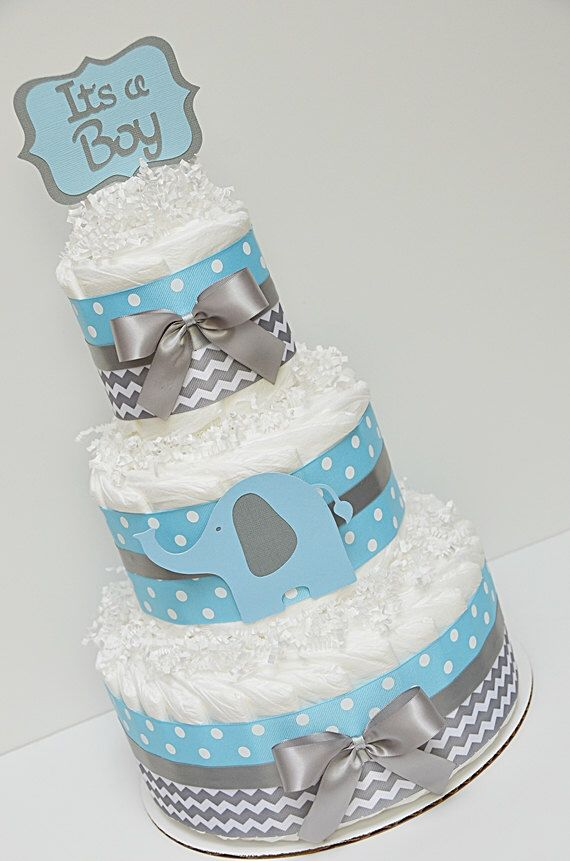 Image from http://www.babyshower-decorations.com/wp-content/uploads/chevron-blue-and-gray-elephant-diaper-cake-baby-sh-1.jpg.