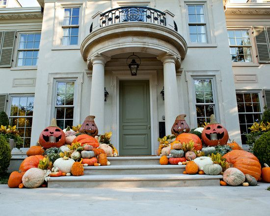 Best Halloween Decorating Ideas For Outside Your Homes : Beautiful Halloween Decorating Ideas For Outside White Windows Frames Halloween Pumpkins Wall Mounted Lighting Cement Steps