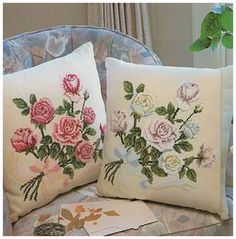 Вышивка крестом розы на подушке.Вышитые подушки крестом схемы