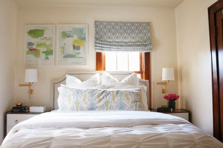 Oakland Avenue Home Tour: Master Bedroom. Bed in Front of an Off-Centered Window and DIY No-Sew Roman Shades