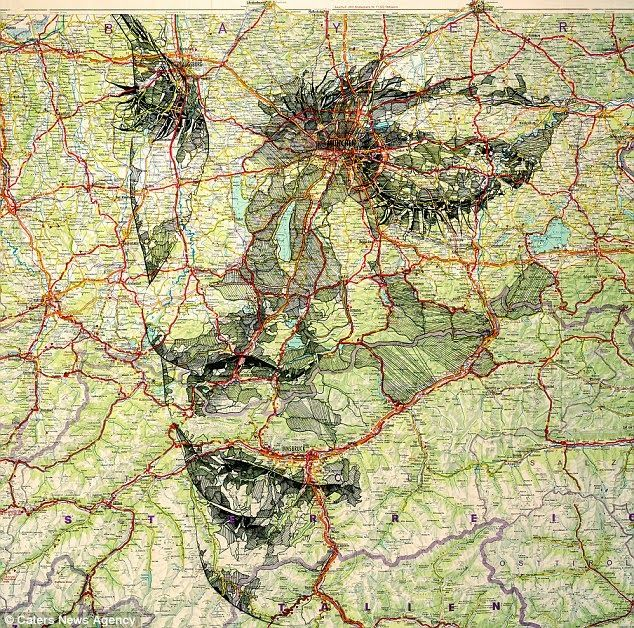 Portraits on maps by Ed Fairburn | Brain's Sparks #portrait #map #art