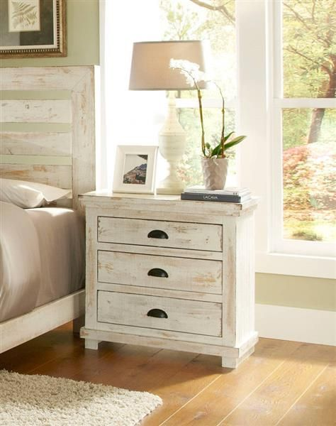 Willow Casual Distressed White Wood Nightstand