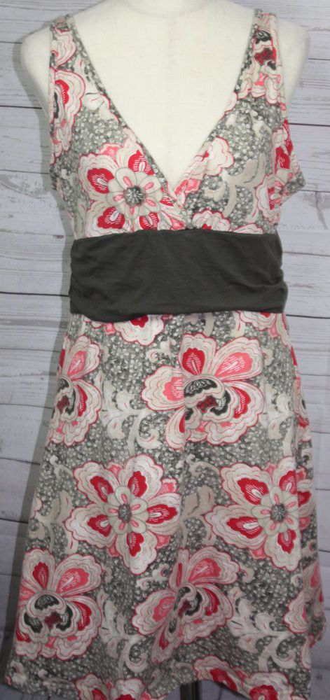 Patagonia Womens V Neck Sleeveless Floral Stretch Knit Dress Size XL #Patagonia #EmpireWaist #Casual