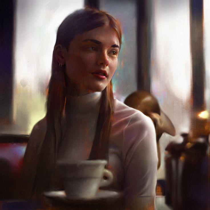 Cafe , Daniel Bolling on ArtStation at https://www.artstation.com/artwork/1a4xK