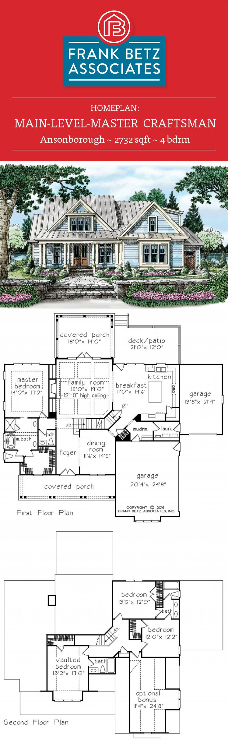 Ansonborough: 2732 sqft, 4 bdrm, main-level-master craftsman, Southern Living house plan design by Frank Betz Associates inc.
