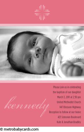 Photo Baptism/Christening Invitations :: Glory Pink Design