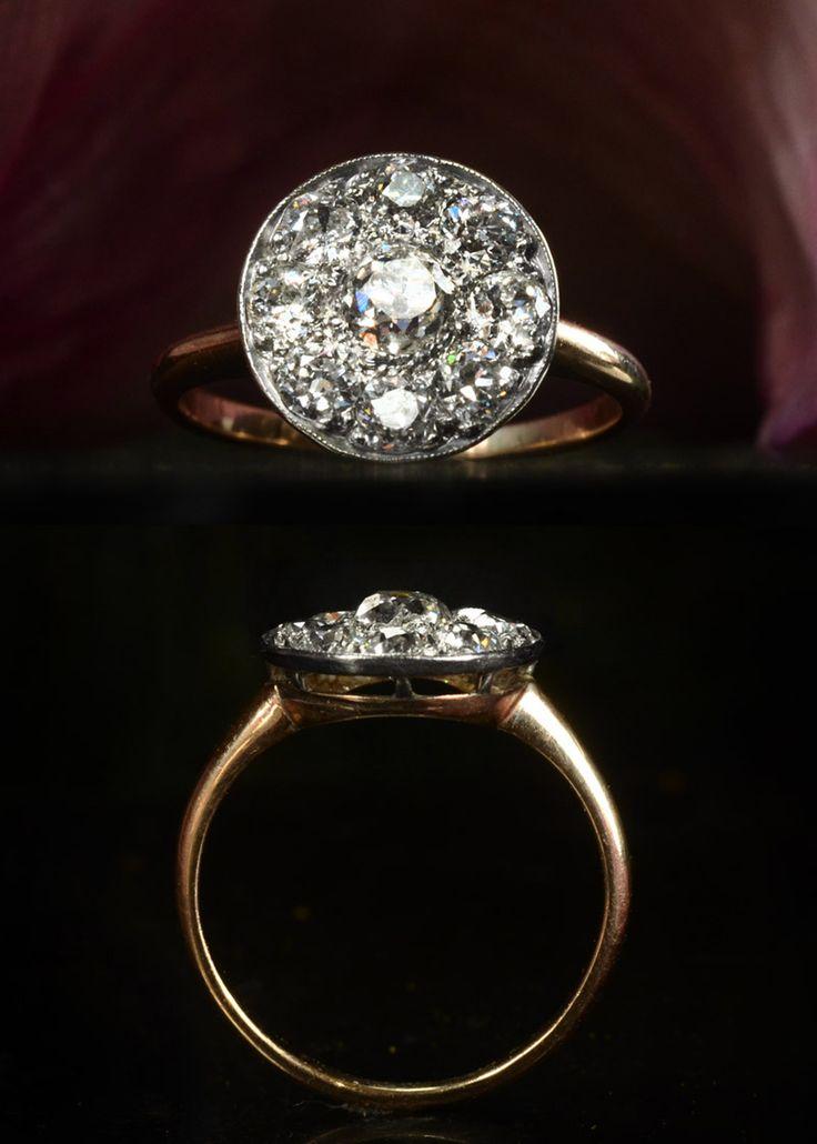 erie basin antique deco engagement ring 1900s Mine Cut Diamond Cluster Ring, Platinum, 14KApprox. 1.60ctw