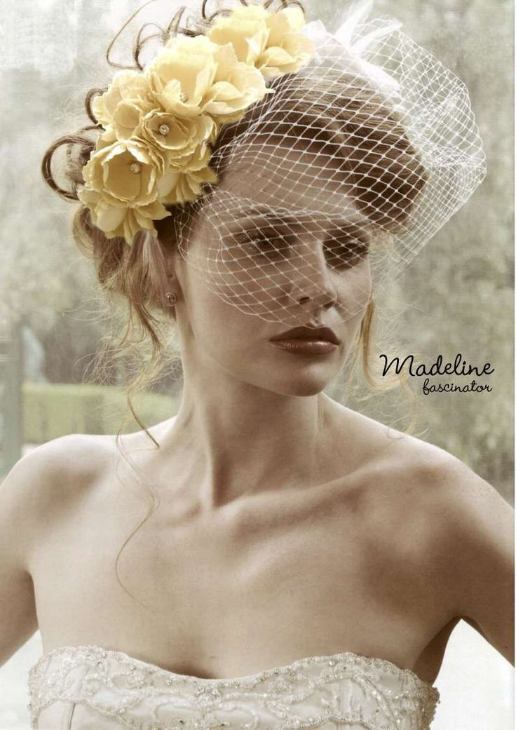 Yellow floral fascinator hat    #Fascinator #Pill box # Netting