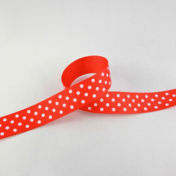 Beautiful Red Polka Dot Printed Ribbon Bow. 3 by TheCabochonMarket