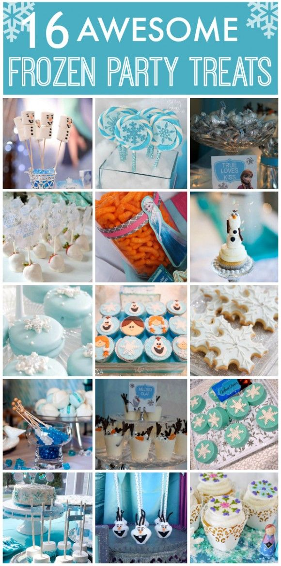 Check out these 16 Frozen girl birthday party treats, including cookies, cake pops, macarons and more! See more party planning ideas at CatchMyParty.com! #frozen #partyideas #cupcakes #partytreats