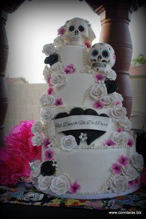 Round Wedding Cakes - Wedding Cake Featuring Hand Sculpted Sugar Skulls and Sugar Flowers