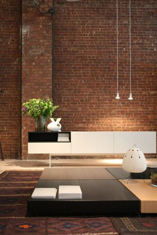 ♂ Rustic wall and minimalist home furnitures interesting combination Studio Anise, space Porro in the Big Apple