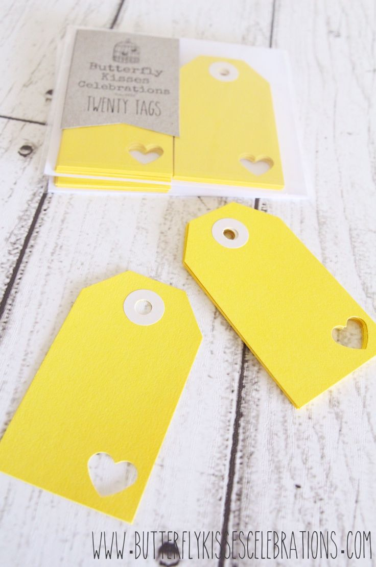 I Heart Yellow swing tags now available at www.butterflykissescelebrations.com! For more inspiration visit us at www.facebook.com/ButterflyKissesCelebrations!
