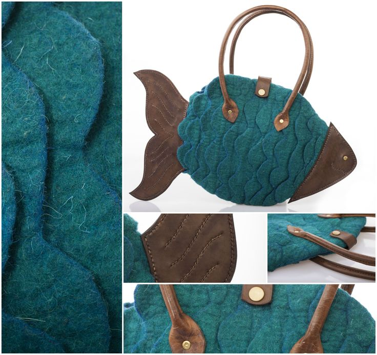 """FELTED FISH BAG  - """"FISH 00."""" Technique: felted Material: wool, leather, steel  Handbag made of colored merino wool. The head, the tail and the handles are made of cow leather – work of Varju Tamás.  Size: cca. 25 x 6 x 40 cm (Height x Width x Length)"""