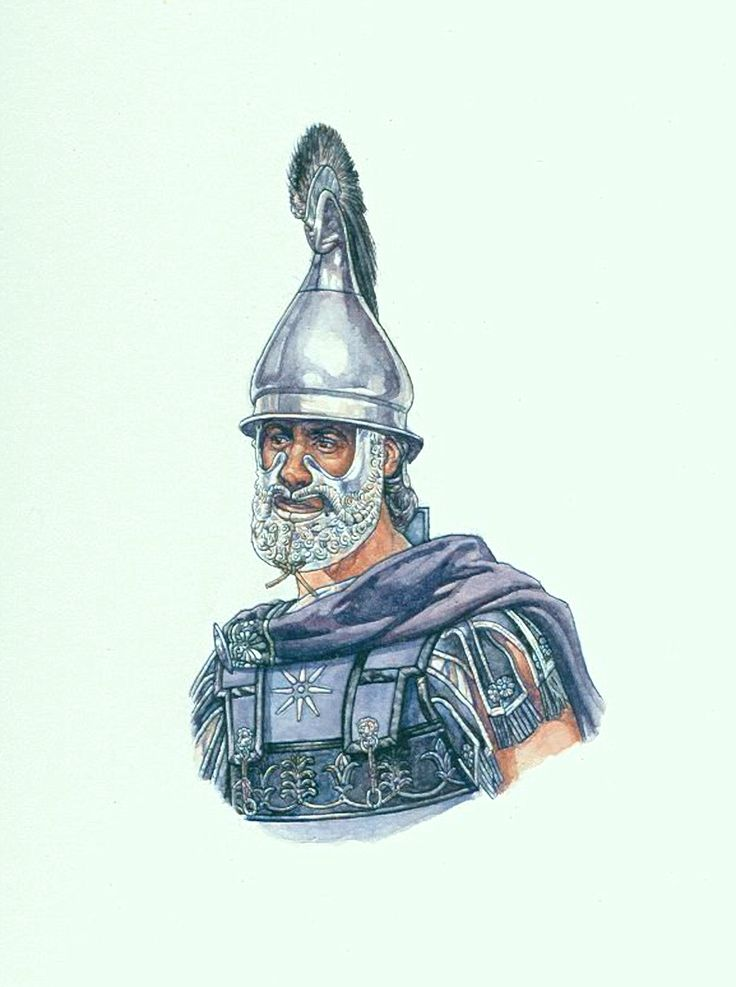 "Macedonian Officer with a ""Thracian"" style helmet by Steven Graham Walsh ~ the purple colour was very popular among Macedonian elite units and was used by officers. The eight pointed star was a common symbol of Macedonian units. The star appeared on shields as well as armour."