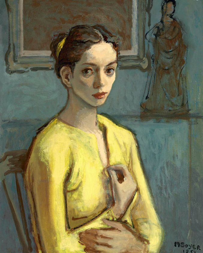 'Cynthia' (1954) by American painter Moses Soyer (1899-1974). Oil on canvas, 30 x 24 in. via Christies