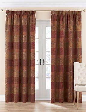 Burgundy Mix Patch Jacquard Pencil Pleat Curtains